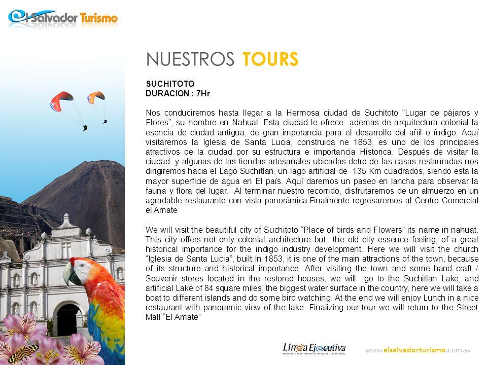 www.elsalvadorturismo.com.sv NUESTROS TOURS CERRO VERDE y SANTA ANA DURACION: 7 HR Atravesando el valle de Zapotitán, carretera a la ciudad de Santa Ana encontraremos el Complejo de los volcanes.