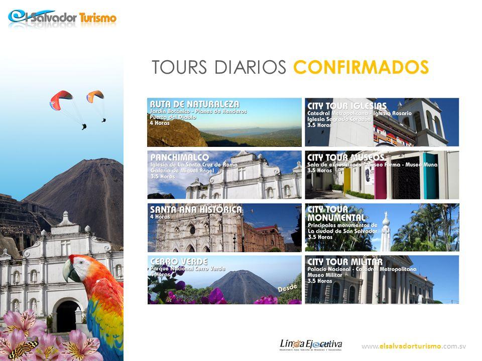 www.elsalvadorturismo.com.sv NUESTRO NUEVO PRODUCTO Corporación Turística El amate con la visión de lograr economías de Escala, de llevar el Turismo de nuestro País a un nivel de competitividad y utilizando los servicios complementarios de las empresas que la conforman, ha preparado un nuevo Producto con la marca el cual consiste en TOUR REGULARES OCNFIRMADOS para los 7 días de la semana y los 365 días del año, con TARIFAS ACCESIBLES para turistas tanto extranjeros como nacionales, las cuales serán las mismas ya sea para 1 pasajero o más y con la Garantía de servicios de nuestra empresa de transporte para Turismo