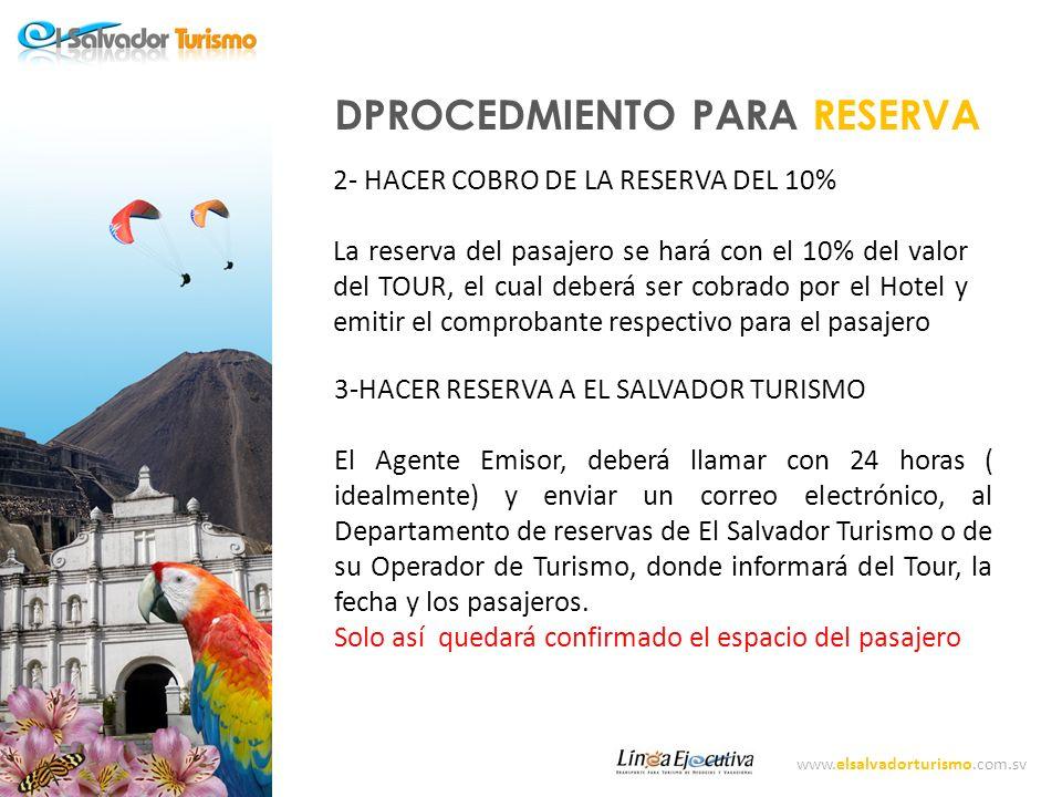 www.elsalvadorturismo.com.sv PROCEDIMIENTO PARA RESERVA.