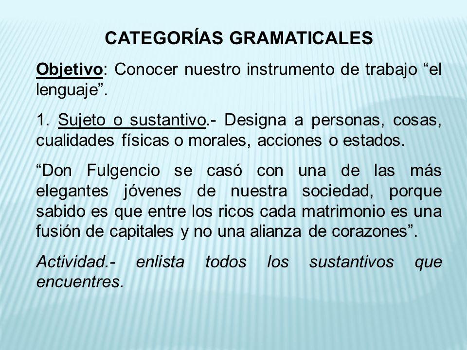 CATEGORÍAS GRAMATICALES Objetivo: Conocer nuestro instrumento de trabajo el lenguaje.