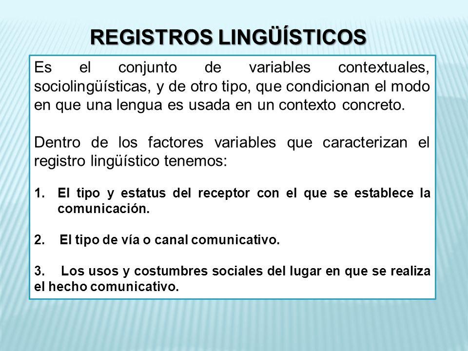 REGISTROS LINGÜÍSTICOS Es el conjunto de variables contextuales, sociolingüísticas, y de otro tipo, que condicionan el modo en que una lengua es usada en un contexto concreto.