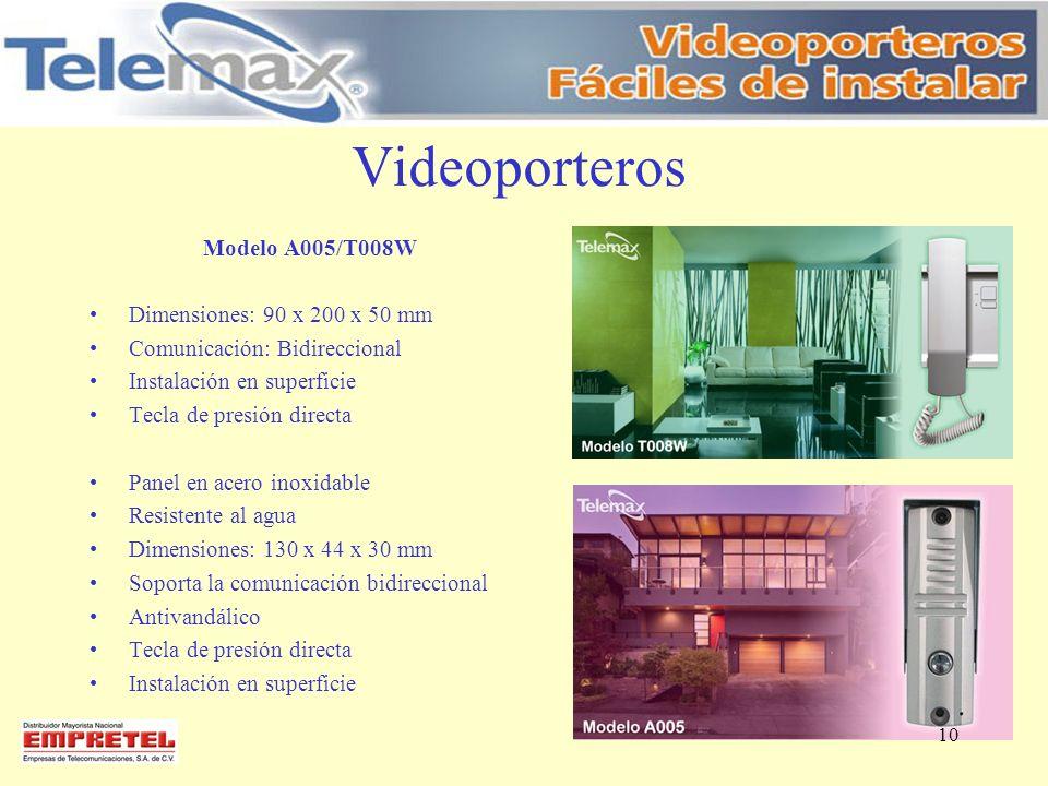 Videoporteros Modelo A005/T008W Dimensiones: 90 x 200 x 50 mm Comunicación: Bidireccional Instalación en superficie Tecla de presión directa Panel en