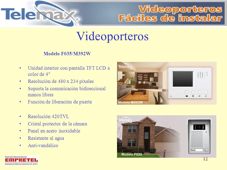 Videoporteros Modelo F035/M392W Unidad interior con pantalla TFT LCD a color de 4
