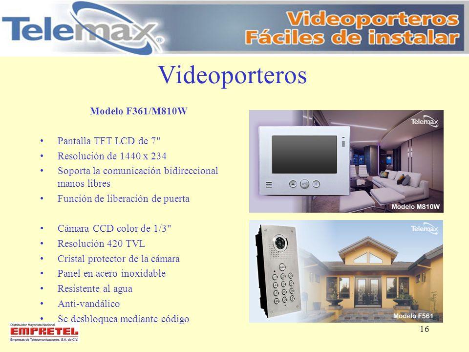 Videoporteros Modelo F361/M810W Pantalla TFT LCD de 7