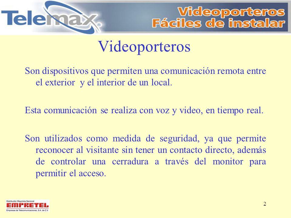 Videoporteros Son dispositivos que permiten una comunicación remota entre el exterior y el interior de un local. Esta comunicación se realiza con voz
