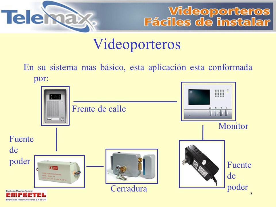 Videoporteros En su sistema mas básico, esta aplicación esta conformada por: Frente de calle Monitor Fuente de poder Cerradura Fuente de poder 3