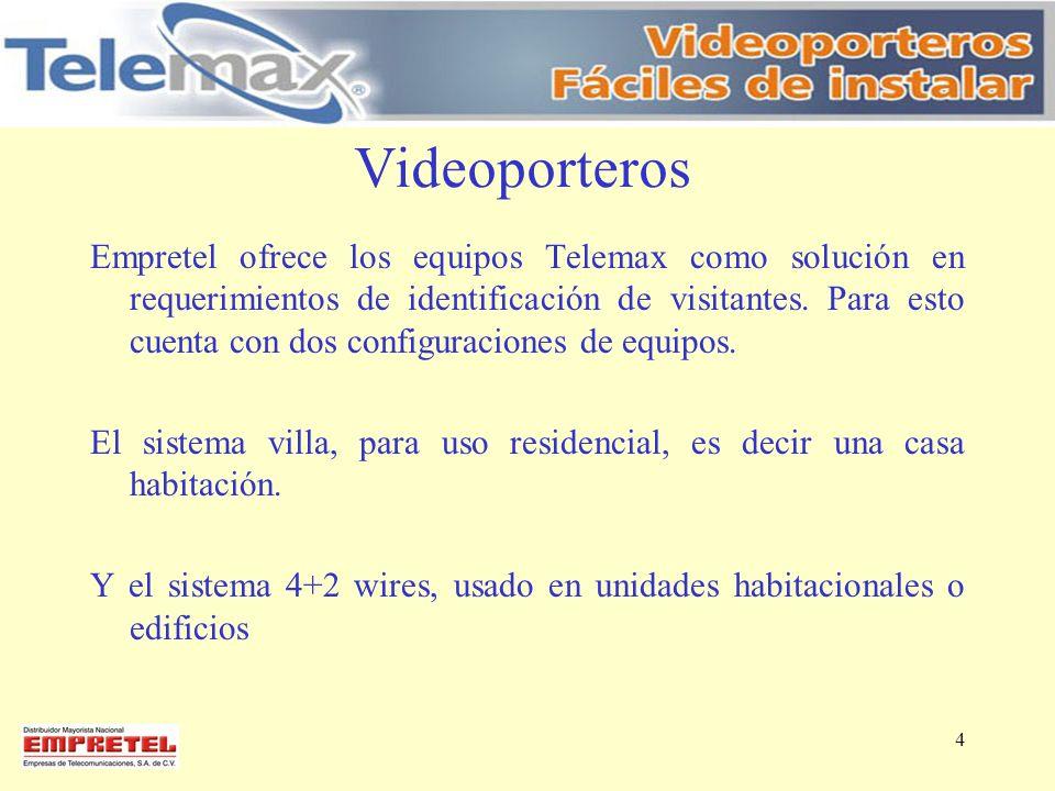 Videoporteros Empretel ofrece los equipos Telemax como solución en requerimientos de identificación de visitantes. Para esto cuenta con dos configurac