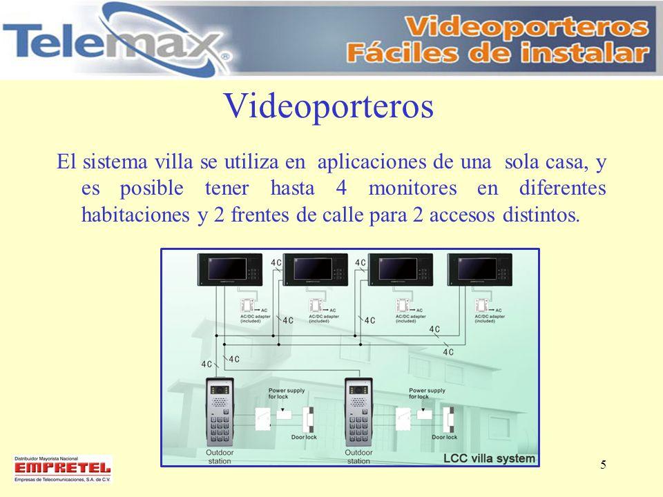 Videoporteros El sistema villa se utiliza en aplicaciones de una sola casa, y es posible tener hasta 4 monitores en diferentes habitaciones y 2 frente