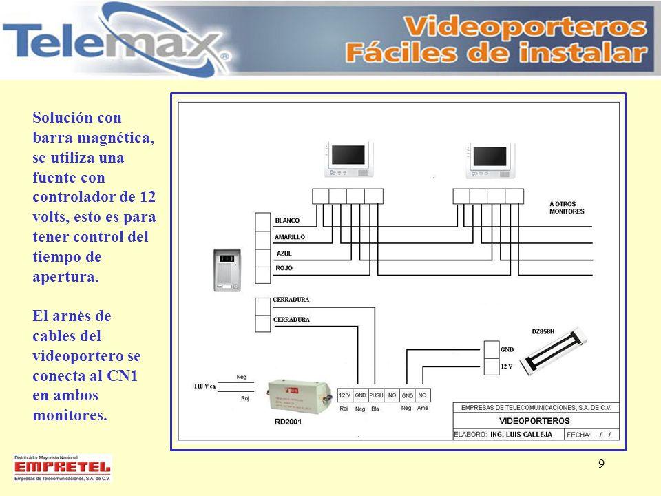 9 Solución con barra magnética, se utiliza una fuente con controlador de 12 volts, esto es para tener control del tiempo de apertura. El arnés de cabl
