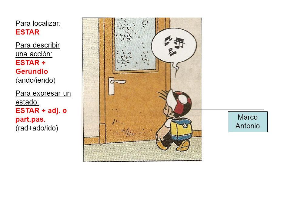 Para localizar: ESTAR Para describir una acción: ESTAR + Gerundio (ando/iendo) Para expresar un estado: ESTAR + adj. o part.pas. (rad+ado/ido) Marco A