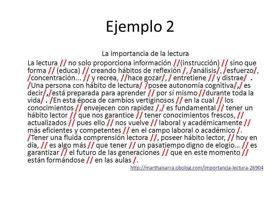 Ejemplo 2 La importancia de la lectura La lectura // no solo proporciona información //(instrucción) // sino que forma // (educa) // creando hábitos d