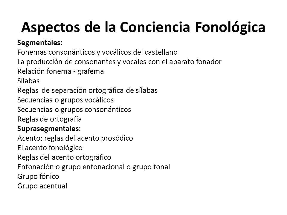 Aspectos de la Conciencia Fonológica Segmentales: Fonemas consonánticos y vocálicos del castellano La producción de consonantes y vocales con el apara