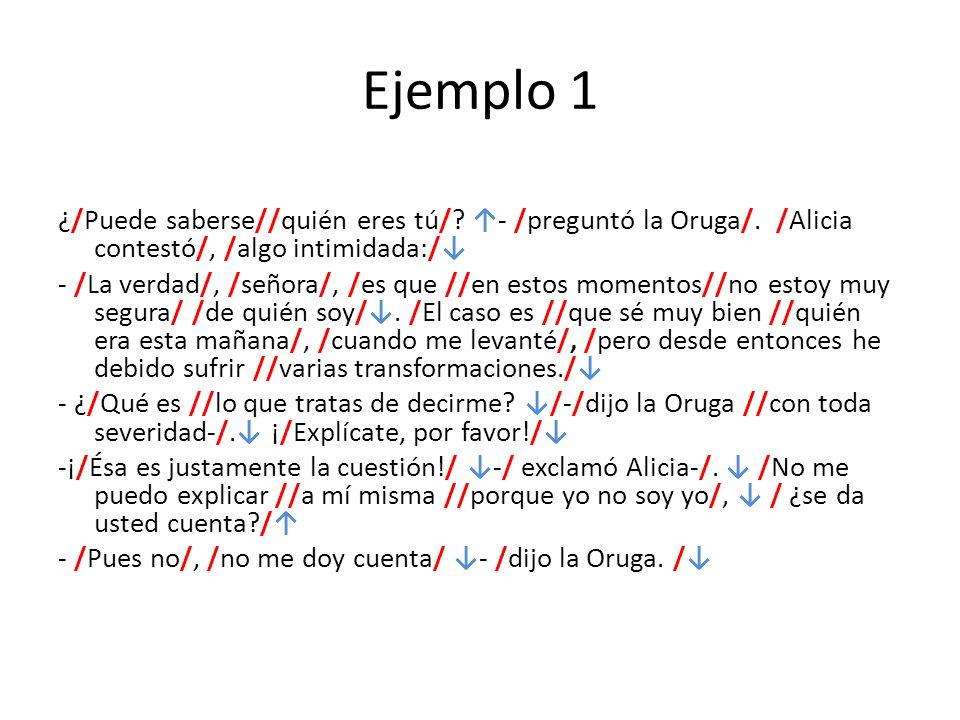 Ejemplo 1 ¿/Puede saberse//quién eres tú/? - /preguntó la Oruga/. /Alicia contestó/, /algo intimidada:/ - /La verdad/, /señora/, /es que //en estos mo