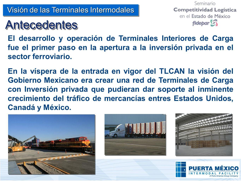 El desarrollo y operación de Terminales Interiores de Carga fue el primer paso en la apertura a la inversión privada en el sector ferroviario. En la v