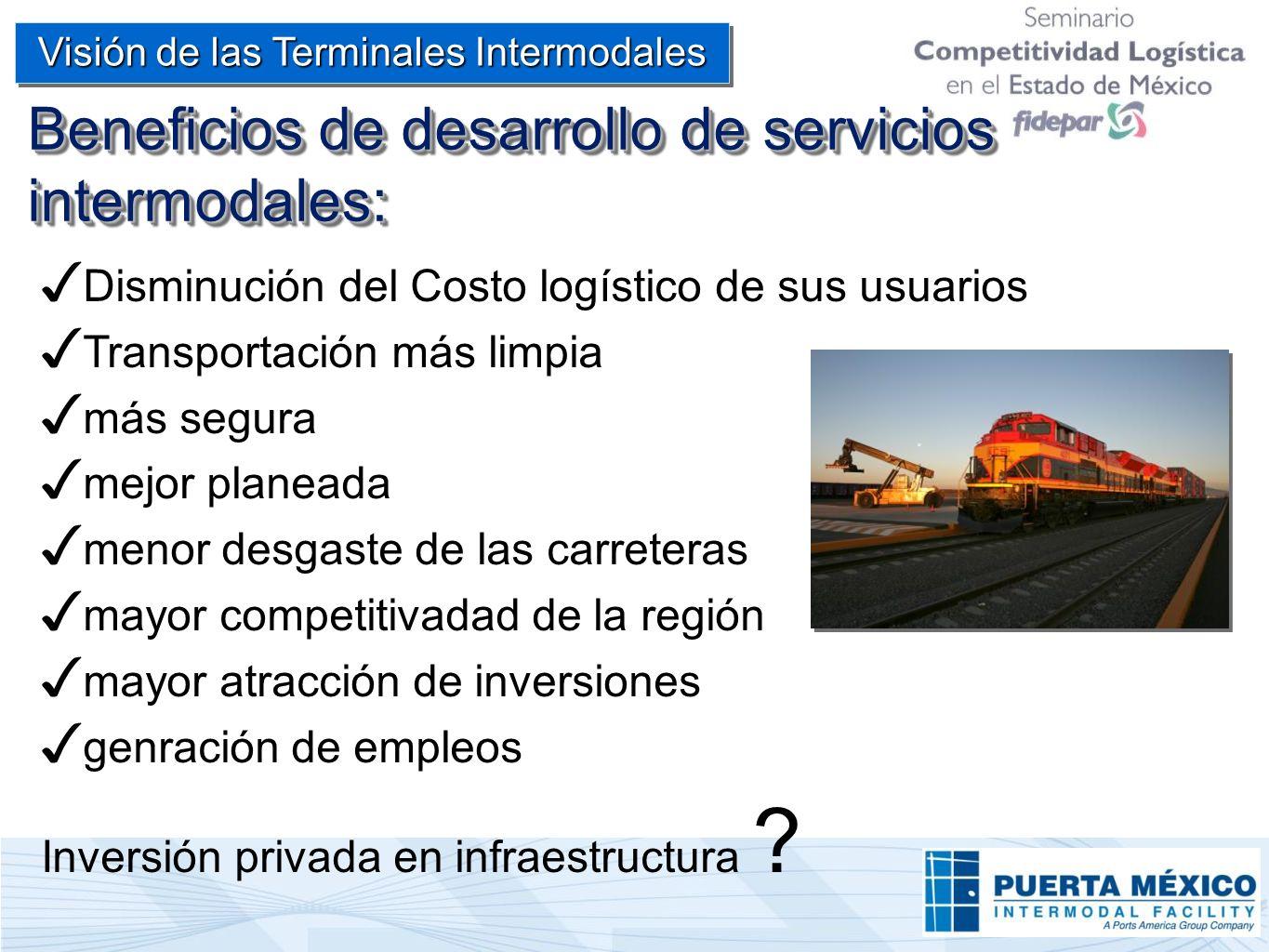 Beneficios de desarrollo de servicios intermodales: Visión de las Terminales Intermodales Disminución del Costo logístico de sus usuarios Transportaci