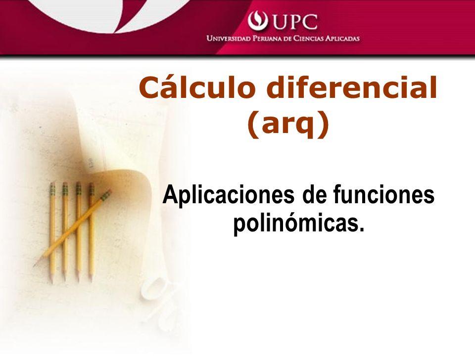 Cálculo diferencial (arq) Aplicaciones de funciones polinómicas.