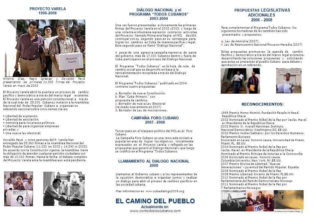 DIÁLOGO NACIONAL y el PROGRAMA TODOS CUBANOS 2003-2004 Una vez fueron presentadas exitosamente las primeras firmas del Proyecto Varela en el 2002 y200