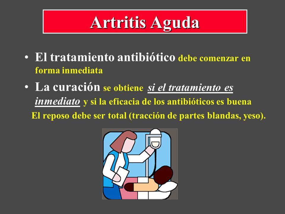 El tratamiento antibiótico debe comenzar en forma inmediata La curación se obtiene si el tratamiento es inmediato y si la eficacia de los antibióticos es buena El reposo debe ser total (tracción de partes blandas, yeso).