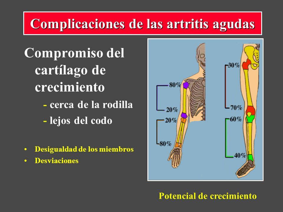 Compromiso del cartílago de crecimiento - cerca de la rodilla - lejos del codo Desigualdad de los miembros Desviaciones Complicaciones de las artritis agudas Potencial de crecimiento