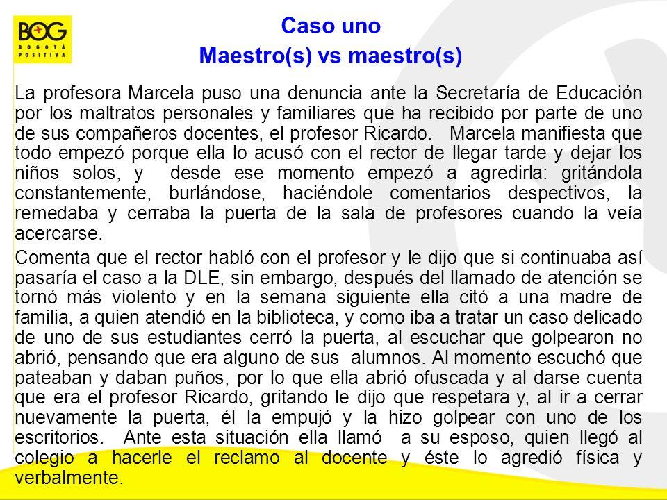 Caso uno Maestro(s) vs maestro(s) La profesora Marcela puso una denuncia ante la Secretaría de Educación por los maltratos personales y familiares que ha recibido por parte de uno de sus compañeros docentes, el profesor Ricardo.