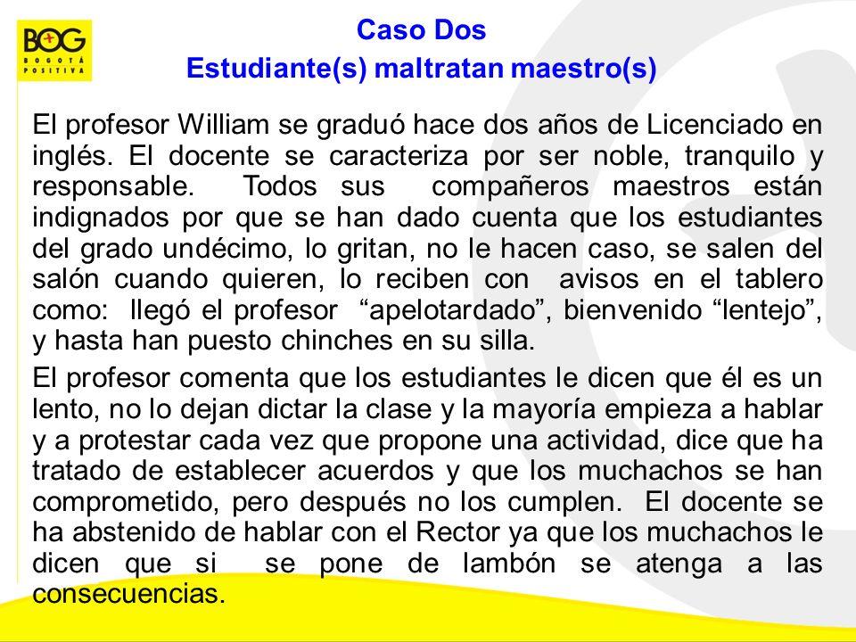 Caso Dos Estudiante(s) maltratan maestro(s) El profesor William se graduó hace dos años de Licenciado en inglés. El docente se caracteriza por ser nob