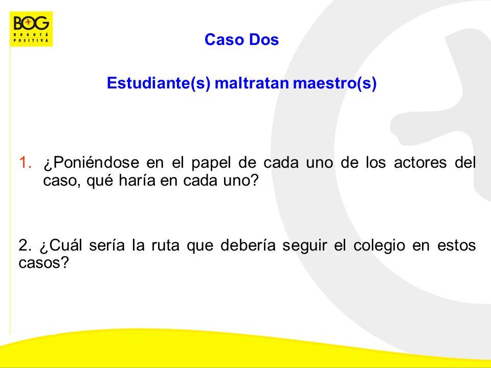 Caso Dos Estudiante(s) maltratan maestro(s) 1.¿Poniéndose en el papel de cada uno de los actores del caso, qué haría en cada uno.
