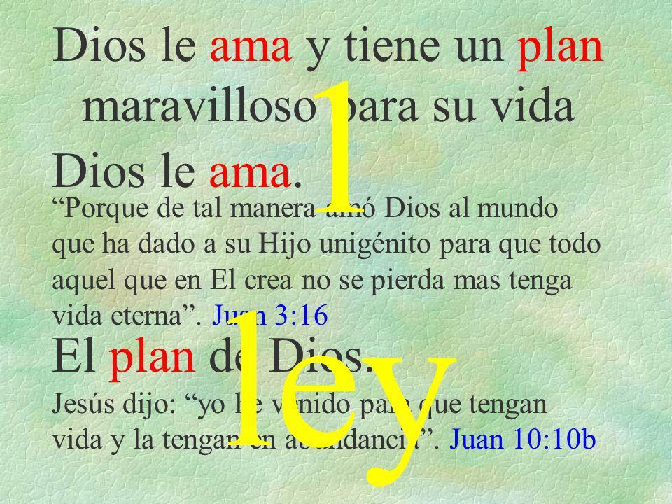 le ama y tiene un plan maravilloso para su vida Dios le ama. El plan de Dios. Porque de tal manera amó Dios al mundo que ha dado a su Hijo unigénito p