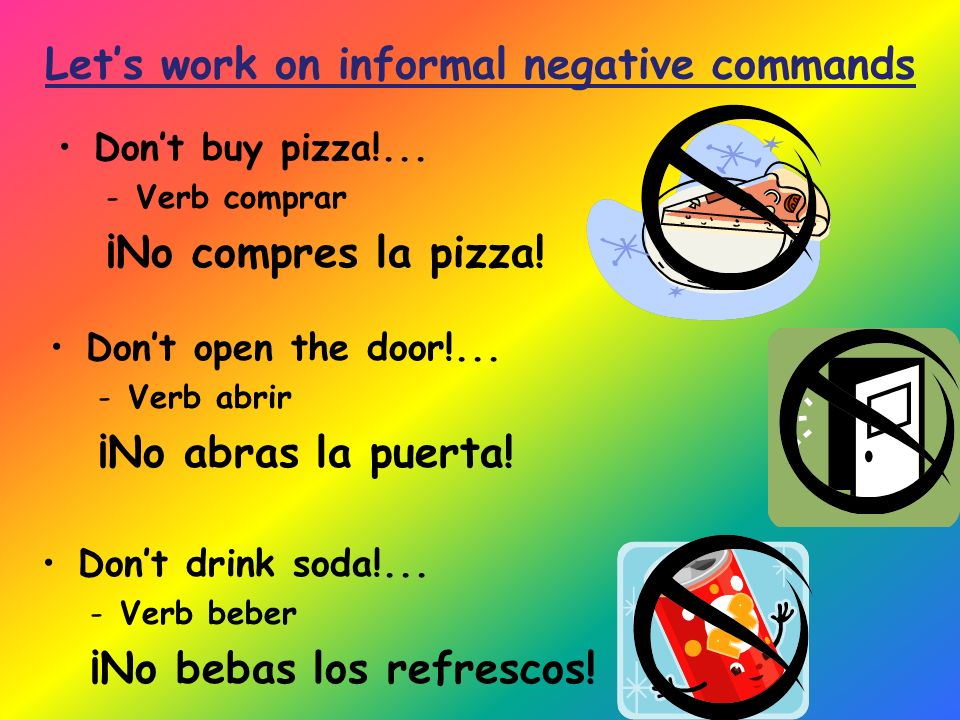 Dont buy pizza!... -Verb comprar ¡No compres la pizza.