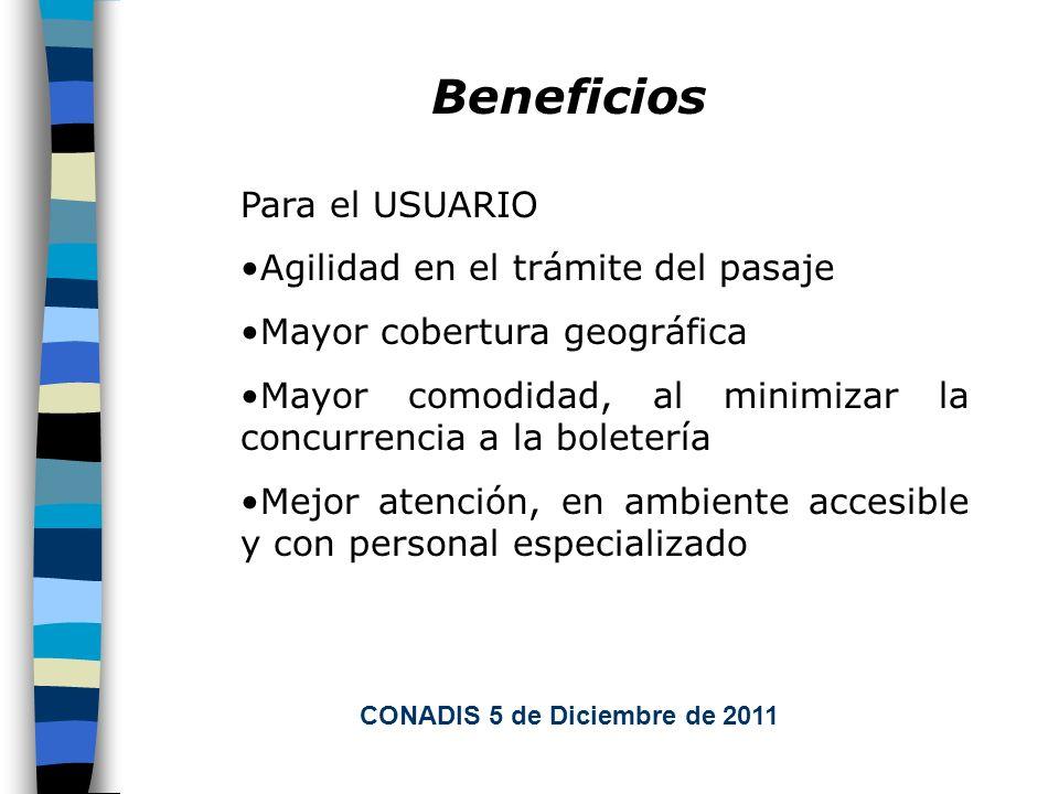 Beneficios Para el USUARIO Agilidad en el trámite del pasaje Mayor cobertura geográfica Mayor comodidad, al minimizar la concurrencia a la boletería Mejor atención, en ambiente accesible y con personal especializado CONADIS 5 de Diciembre de 2011