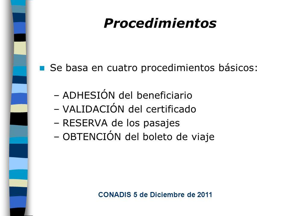 Procedimientos Se basa en cuatro procedimientos básicos: –ADHESIÓN del beneficiario –VALIDACIÓN del certificado –RESERVA de los pasajes –OBTENCIÓN del boleto de viaje CONADIS 5 de Diciembre de 2011