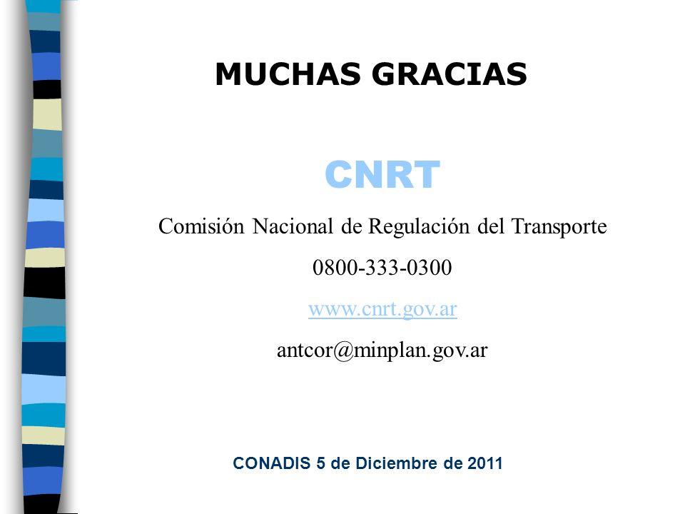 MUCHAS GRACIAS CNRT Comisión Nacional de Regulación del Transporte 0800-333-0300 www.cnrt.gov.ar antcor@minplan.gov.ar CONADIS 5 de Diciembre de 2011