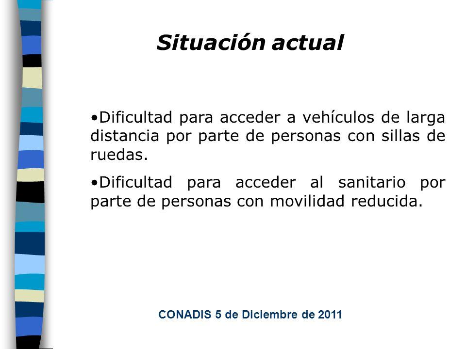 Situación actual Dificultad para acceder a vehículos de larga distancia por parte de personas con sillas de ruedas.