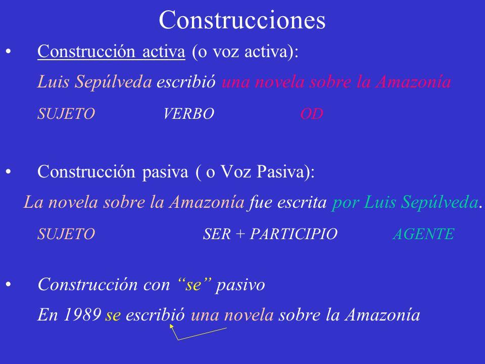 Construcciones Construcción activa (o voz activa): Luis Sepúlveda escribió una novela sobre la Amazonía SUJETO VERBO OD Construcción pasiva ( o Voz Pa