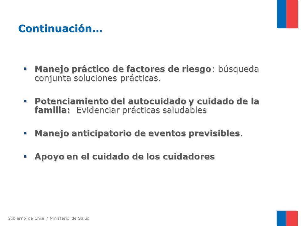 Gobierno de Chile / Ministerio de Salud Continuación… Manejo práctico de factores de riesgo: búsqueda conjunta soluciones prácticas.