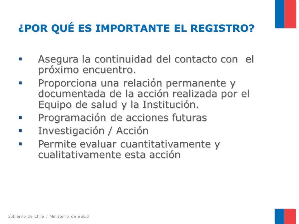 Gobierno de Chile / Ministerio de Salud ¿POR QUÉ ES IMPORTANTE EL REGISTRO.