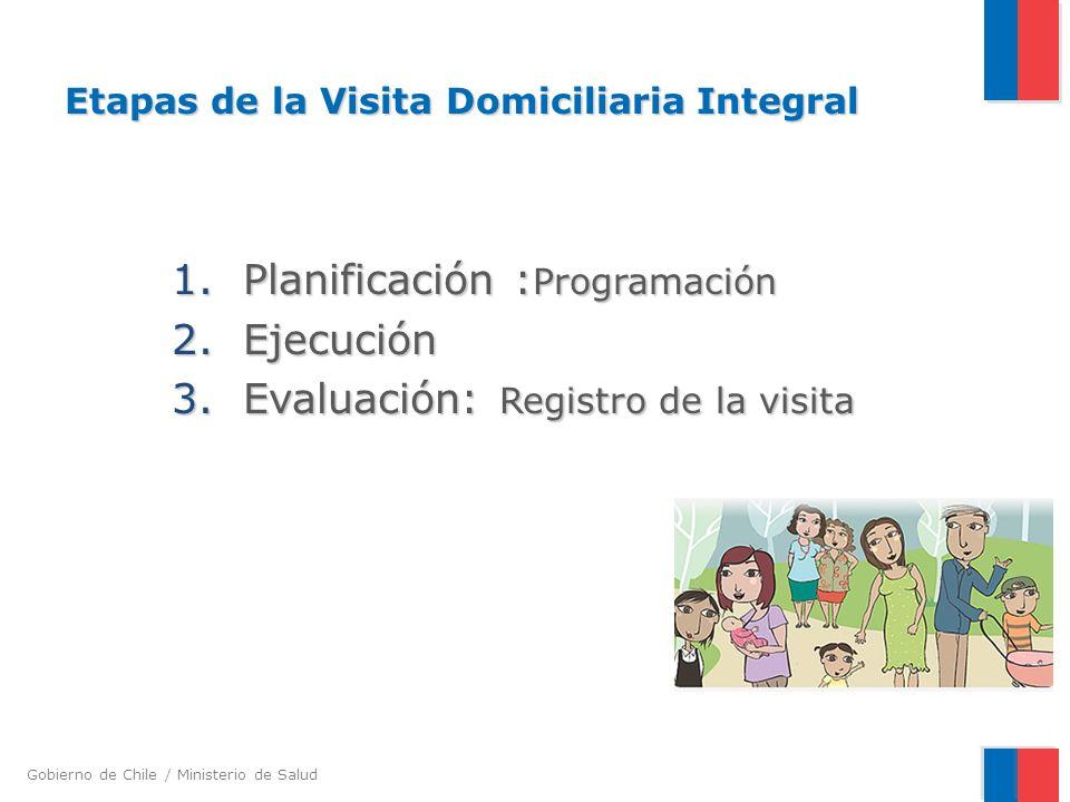 Gobierno de Chile / Ministerio de Salud Etapas de la Visita Domiciliaria Integral 1.Planificación : Programación 2.Ejecución 3.Evaluación: Registro de la visita