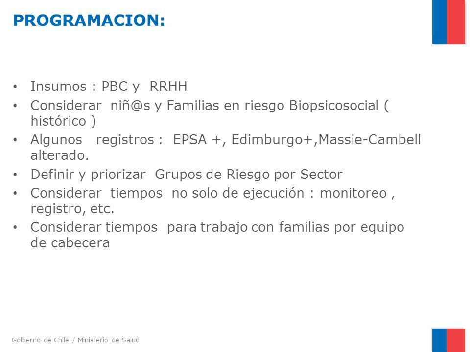 Gobierno de Chile / Ministerio de Salud PROGRAMACION: Insumos : PBC y RRHH Considerar niñ@s y Familias en riesgo Biopsicosocial ( histórico ) Algunos registros : EPSA +, Edimburgo+,Massie-Cambell alterado.