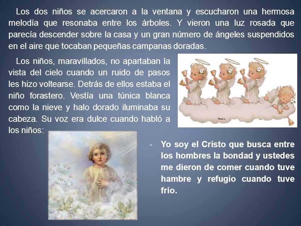 -Yo soy el Cristo que busca entre los hombres la bondad y ustedes me dieron de comer cuando tuve hambre y refugio cuando tuve frío. Los dos niños se a