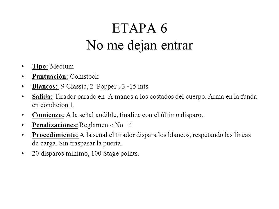 ETAPA 6 No me dejan entrar Tipo: Medium Puntuación: Comstock Blancos: 9 Classic, 2 Popper, 3 -15 mts Salida: Tirador parado en A manos a los costados del cuerpo.