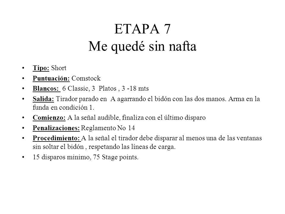 ETAPA 7 Me quedé sin nafta Tipo: Short Puntuación: Comstock Blancos: 6 Classic, 3 Platos, 3 -18 mts Salida: Tirador parado en A agarrando el bidón con las dos manos.