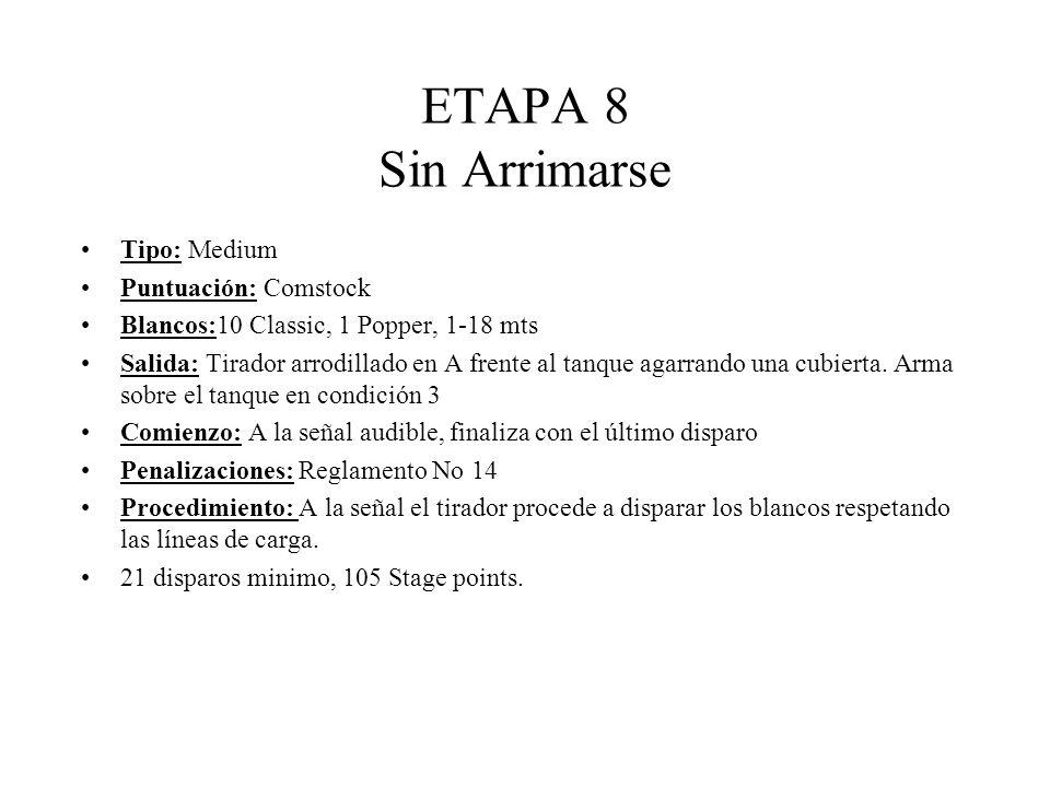 ETAPA 8 Sin Arrimarse Tipo: Medium Puntuación: Comstock Blancos:10 Classic, 1 Popper, 1-18 mts Salida: Tirador arrodillado en A frente al tanque agarrando una cubierta.