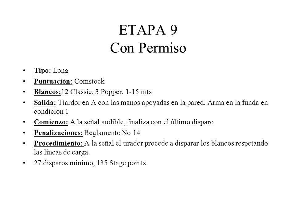 ETAPA 9 Con Permiso Tipo: Long Puntuación: Comstock Blancos:12 Classic, 3 Popper, 1-15 mts Salida: Tiardor en A con las manos apoyadas en la pared.