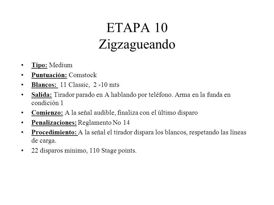 ETAPA 10 Zigzagueando Tipo: Medium Puntuación: Comstock Blancos: 11 Classic, 2 -10 mts Salida: Tirador parado en A hablando por teléfono.