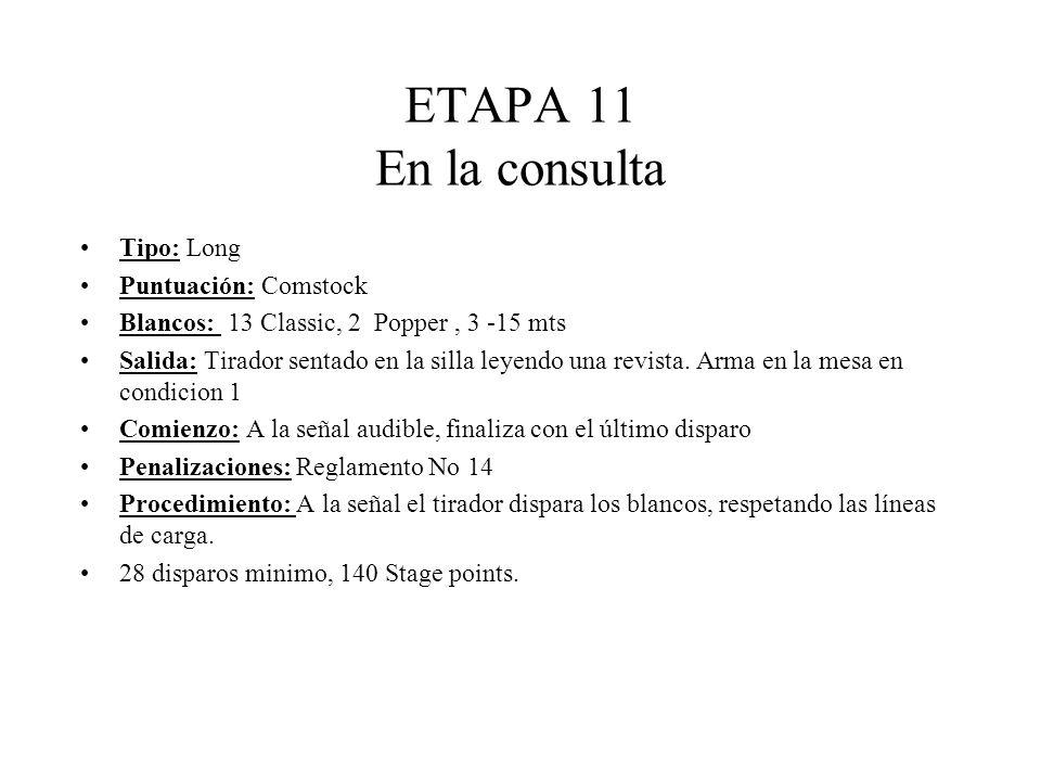 ETAPA 11 En la consulta Tipo: Long Puntuación: Comstock Blancos: 13 Classic, 2 Popper, 3 -15 mts Salida: Tirador sentado en la silla leyendo una revista.