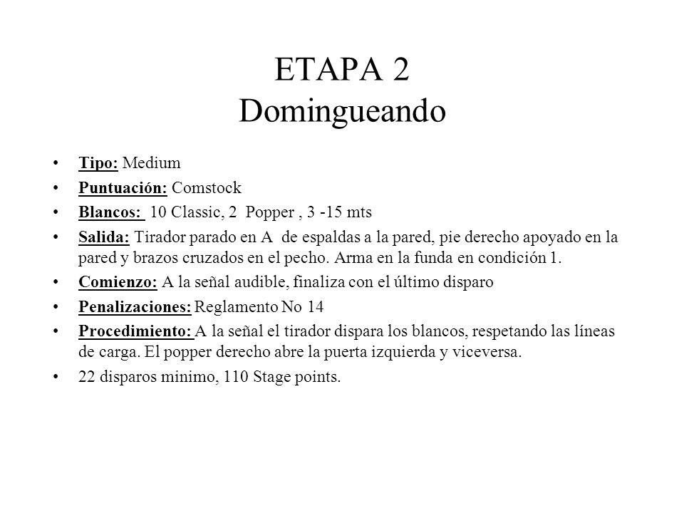 ETAPA 2 Domingueando Tipo: Medium Puntuación: Comstock Blancos: 10 Classic, 2 Popper, 3 -15 mts Salida: Tirador parado en A de espaldas a la pared, pie derecho apoyado en la pared y brazos cruzados en el pecho.