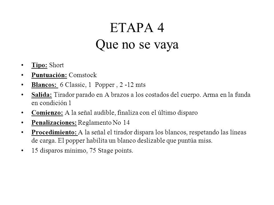 ETAPA 4 Que no se vaya Tipo: Short Puntuación: Comstock Blancos: 6 Classic, 1 Popper, 2 -12 mts Salida: Tirador parado en A brazos a los costados del cuerpo.