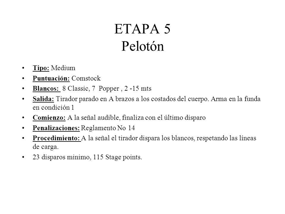 ETAPA 5 Pelotón Tipo: Medium Puntuación: Comstock Blancos: 8 Classic, 7 Popper, 2 -15 mts Salida: Tirador parado en A brazos a los costados del cuerpo.