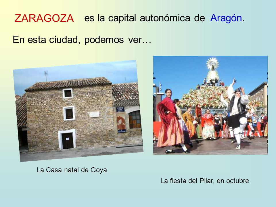 ZARAGOZA es la capital autonómica deAragón.