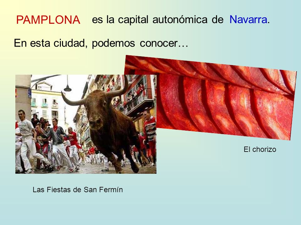 PAMPLONA es la capital autonómica deNavarra. En esta ciudad, podemos conocer… El chorizo Las Fiestas de San Fermín