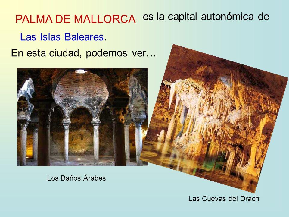 PALMA DE MALLORCA es la capital autonómica de Las Islas Baleares. En esta ciudad, podemos ver… Los Baños Árabes Las Cuevas del Drach